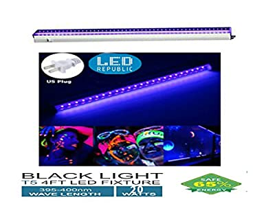 UV Black Light Fixtures 4 FT 20W LED T5 Integrated Single Fixture Extendable Tube Bulb Blackligh with Built-in ON/OFF Switch Plug for Party Hotel Club or DJ Stage