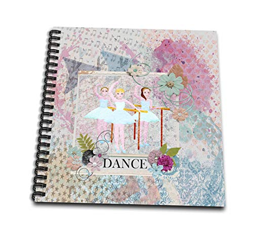 3dRose Beverly Turner Ballerina Design - Ballerina Dancers, Flower Dance Frame, Pastel Abstract Design - Memory Book 12 x 12 inch - Ballerina Beverly