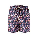 Elxie06 Cartoon Tropical Pattern Mens Quick Dry Lightweight Beach Shorts Drawstring