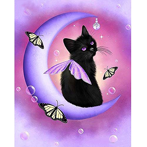 5D Diamond Painting Rhinestone Moon Little Black Cat Butterfly Dream Embroidery Wallpaper DIY Cross Stitch Arts Kit Crystal for KidsFor Adult Decoration Drawing 25X30CM -