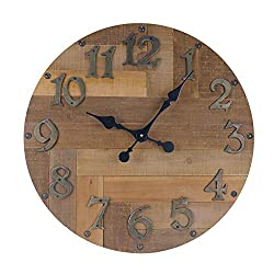 NIKKY HOME Silent Noiseless Retro Spliced Wood Round Wall Clock Vintage Distressed Rustic 23 inch