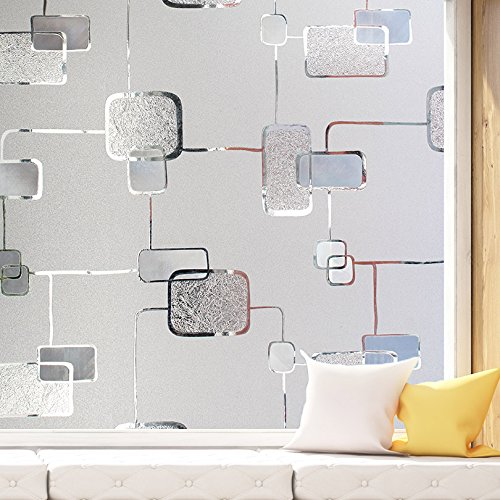 Geometry Pattern Non-Adhesive Static Frosted Decorative Glass Privacy Window Films, 3Ft by 6.5Ft(90 x 200cm) (3' Static Cling Decal)