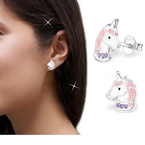 gh1a Lila Cristal Unicornio Juego Ring + Colgante + Collar + Pendientes 925plata chica caballo