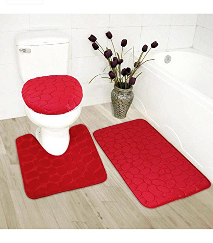 Elegant Home 3 Piece Solid Color Rock Embossed Memory Foam Bathroom Rug Set Bath Rug, Contour Mat, Lid Cover Non-Slip with Rubber Backing # New Rock (Red) (Mat Bath Bright Red)