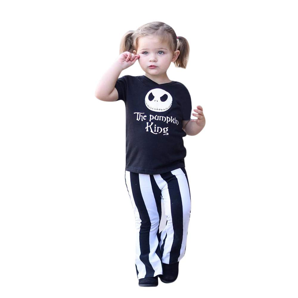 GoodLock Clearance!! Baby Girls Halloween Clothes Set Kids Skull T-Shirt Tops+Striped Flare Pants Outfits 2Pcs (Black, 4T)