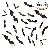 Tools & Hardware : UNOMOR Halloween Decorations Bat Stickers Window Wall Décor for Party, 4 Sizes with 48 Pieces