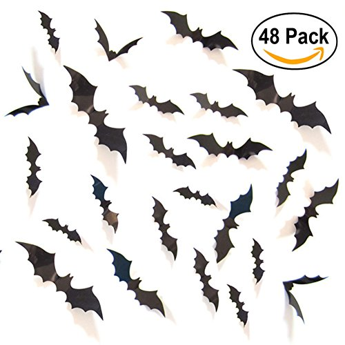 UNOMOR Halloween Decorations Bat Stickers Window Wall Décor for Party, 4 Sizes with 48 (Bat Halloween Decorations)