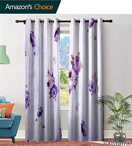 LQQBSTORAGE Custom Pattern Curtains Insulated Thermal Fleur de lis Wallpaper Pattern, Curtains Kids Room, W84 x L96 Inch, (2 Panels)