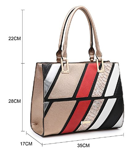 Bag Handbag Ladies Tote Summer Panel Stylish Striped Satchel MA36007 Shoulder Bag Women's Pink qqtCvr
