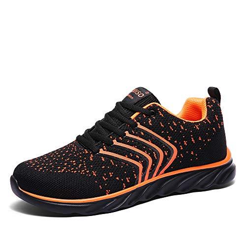 XIDISO Mens Running Shoes Women Lightweight Slip On Sneakers for Men Cross Training Athletic Gym Tennis Sports Walking Shoe Orange ()