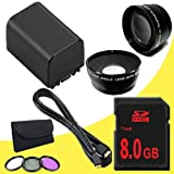 BP-819 Lithium Ion Replacement Battery + 8GB SDHC Class 10 Memory Card + 43mm 3 Piece Filter Kit + Wide Angle Lens + 2x Telephoto Lens + Mini HDMI Cable for Canon Vixia HFM40 HFM41 HFM400 HV30 Digital Camcorders DavisMAX BP819 Accessory Bundle