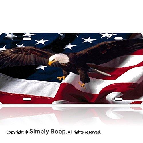 American Flag Bald Eagle Patriotic Aluminum License Plate Gloss Baked on (Flag Patriotic License Plate)
