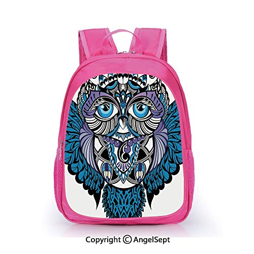 Custom Kid's Backpack Waterproof Cartoon Picture,Owl Bird Animal with Paisley Tattoo Decor with Big Blue Eyes Lashes Navy Blue and Purple,15.7inch,School Bag For Unisex Kids