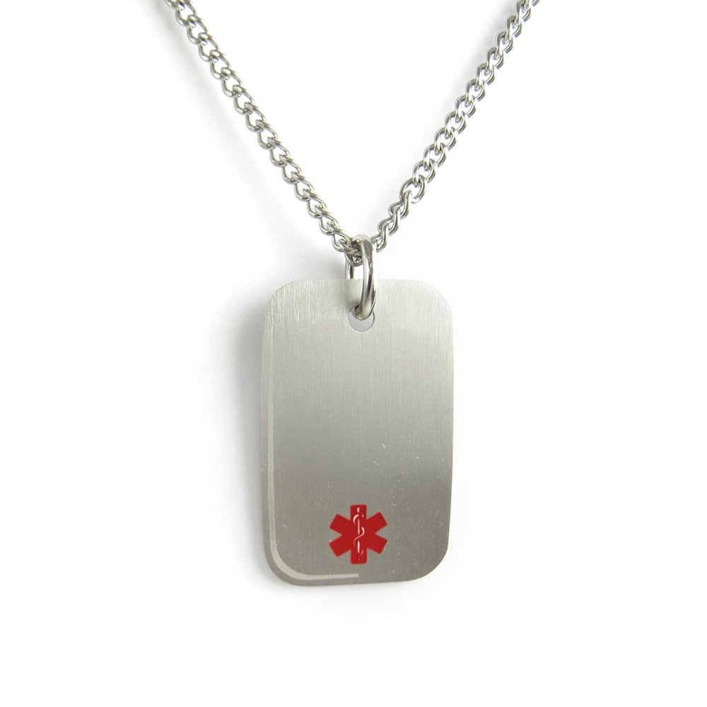MyIDDr- Epilepsy Medical Alert Dog Tag Necklace Stainless steel, Pre-Engraved Red My Identity Doctor PDS1R(Epilepsy)