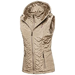 Made by Emma Quilted Lightweight Vest with Inside Fur Lining Khaki M Size