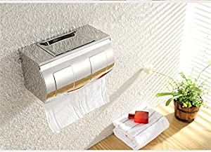 Stainless steel bathroom tissue paper holder tissue boxes waterproof toilet paper tray roll holder