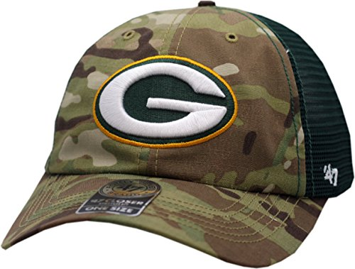 Green Bay Packers Hat Flex Fit Camouflage Mesh Compass Closer 12134