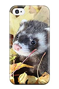 Cute Appearance Cover/pc EWnwHEE1685JiYXR Ferret In The Leaves Case For Iphone 4/4s