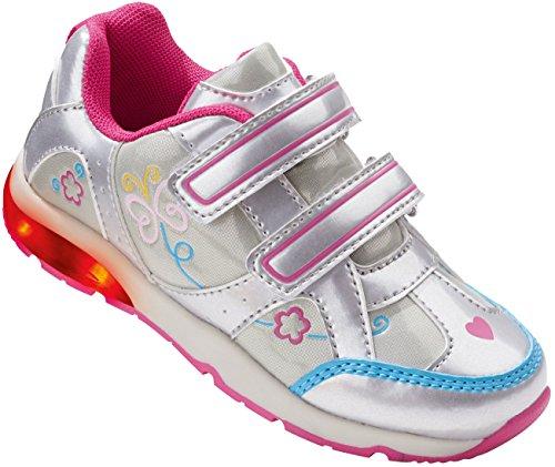 LUPILU® Kinder LED-Schuhe silber / pink / hellblau