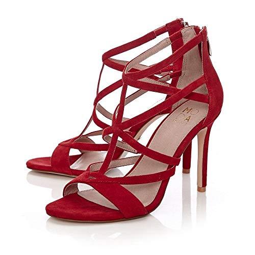 Rosso Pelle Sandali Red In Moda Donna xT4IPq