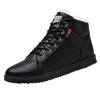 9929c02f08e51 KESEELY Mens Outdoor Winter Retro Shoes Non-Slip Lace Up Plush Boots ...