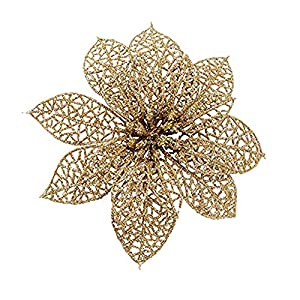 Julvie 15 PCS Glitter Poinsettia Christmas Tree Ornaments Artificial Flowers Xmas Presents Gift Decorations for Wedding Home Garden 60