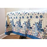 Couleur Nature Fleur Sauvage Tablecloth, 90 by 90'', Blue