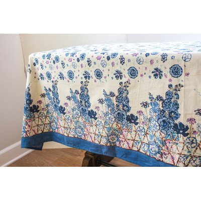 Couleur Nature Fleur Sauvage Tablecloth, 59 by 86'', Blue by Couleur Nature