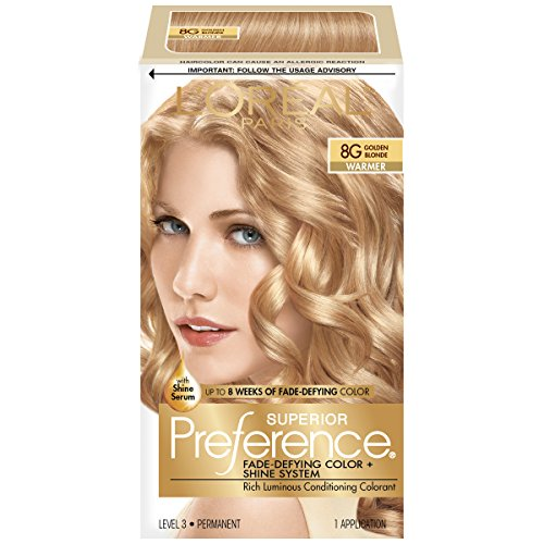 L'Oreal Paris Superior Preference Fade-Defying Color + Shine System, 8G Golden Blonde(Packaging May Vary)