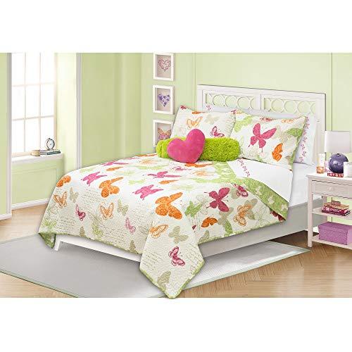 Home Style Butterfly Kids Quilt Set Queen/Full Size - Multicolor, Garden Butterflies Print - 3 Piece Bed Sets - Animals Design Reversible Bedding, Fun Decorative Girls Bedroom - Ultra Soft ()