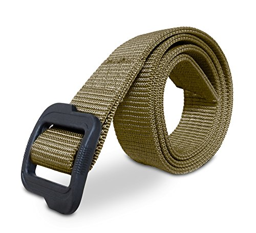 MISSION ELITE Heavy Duty EDC Tactical Belt - Two-Layer Reinforced Nylon with No Metal - Stiffened for Concealed Carry EDC Holsters Pouches Security Military Wilderness ()