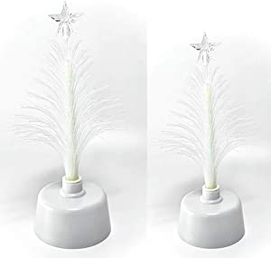 BANBERRY DESIGNS Fiber Optic Tree Set - 2 Pc Set Color Changing Holiday Tree Set with a Star - Tabletop Tree Set