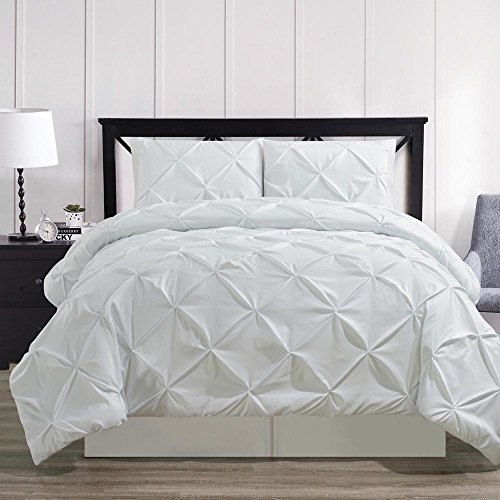 Oxford Comforter Set - Ultra Soft and Wrinkle Resistant Double Needle Luxury Soft Pinch Pleated Oxford White Comforter Set, Diamond Pintuck Pattern, 4 Piece King Size Set