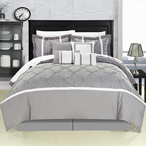 Vermont Grey Queen 8 Piece Comforter Bed in A Bag Set
