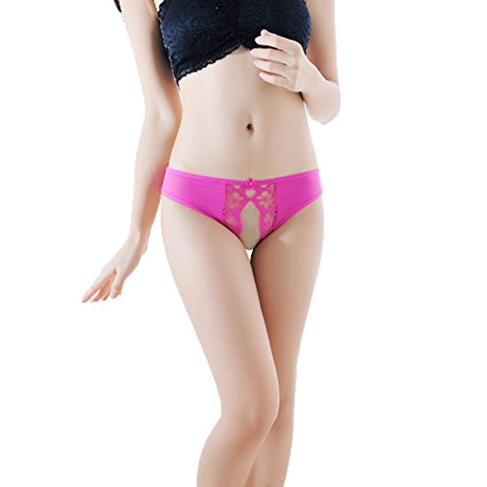 Hollow Underwear Women Thong Bragas Sexy Thong Panties Lace Perspective Print Briefs Hot Pink