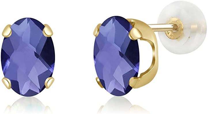 2.00 CT 7x5mm 14K SOLID YELLOW GOLD BLUE SAPPHIRE OVAL SHAPE STUD EARRINGS PUSH