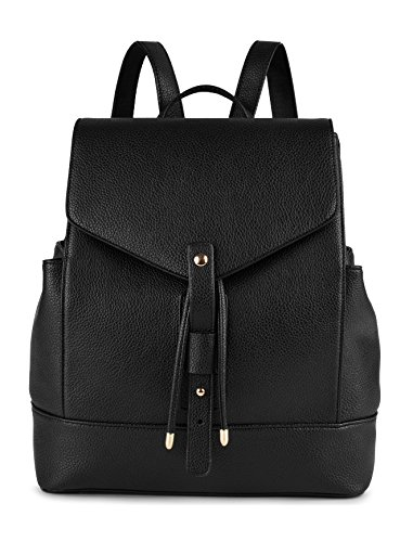 COOFIT Black PU Leather Backpack Schoolbag Casual Daypack for Women