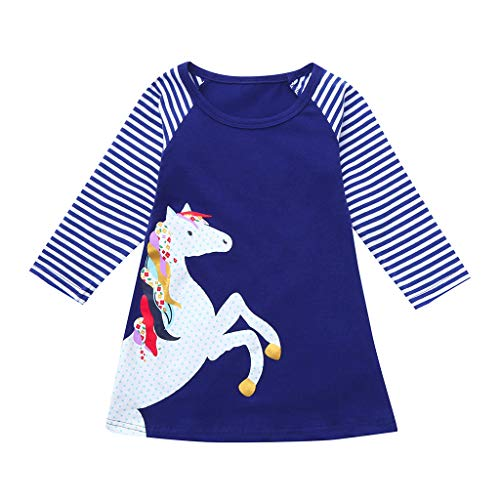 Princess Party Dress,1-8 Years Toddler Baby Girl Kid Cartoon Horse Stripe Print Clothes (7-8 Years, Dark -