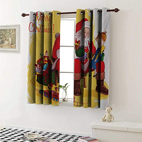 Flyerer Christmas Drapes for Living Room Little Child Sitting on Santa Knee with Gifts Doll and Toy Train Kids Design Curtains Kitchen Window W96 x L72 Inch Multicolor