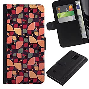 Billetera de Cuero Caso Titular de la tarjeta Carcasa Funda para Samsung Galaxy Note 4 SM-N910 / sun pattern floral abstract green color / STRONG