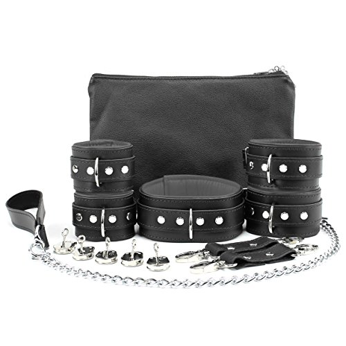 Madrid Set Lockable Full Grain Leather Collar Chain Leash Wrist Cuffs Ankle Cuffs (Grey) by VP Leather