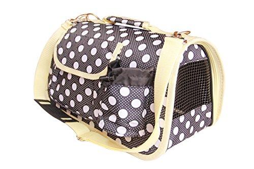 BPS (R) Portador Transportín Bolsa Bolso de tela (Lunares) para Perro, Gato, Mascotas, Animales,Tamaño: M,43.5x25x25cm (Negro)