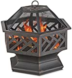 Endless Summer Oil Rubbed Bronzed Wood Burning Outdoor Fire Bowl with Geometric Design