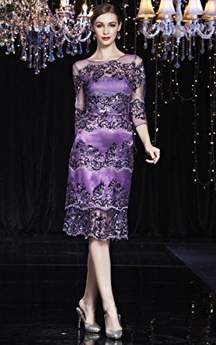 Pailletten Kalb Sheer Ansatz Beauty Abendkleider Langarm O Emily Violett Mittler Cocktail BggnHq