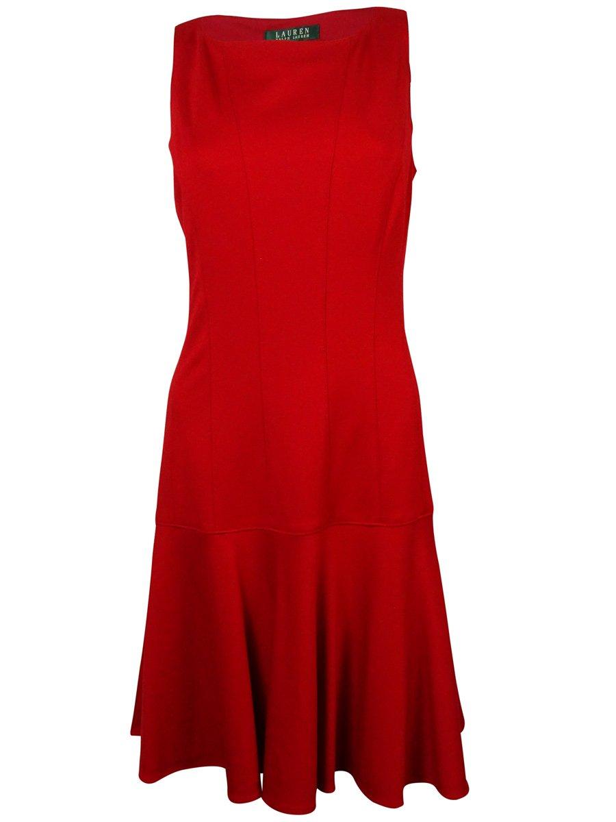 Lauren Ralph Lauren Womens Sleeveless Drop Waist Wear to Work Dress Red 8