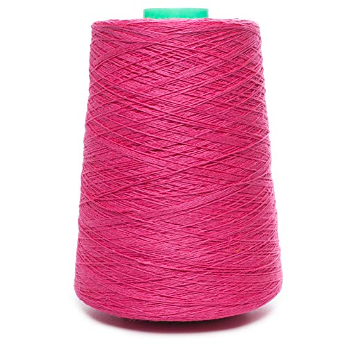 (Linen Yarn Cone - 100% Flax Linen - 1 LBS - Fuchsia Color - 3 PLY - Sewing Weaving Crochet Embroidering - 3.000 Yard)
