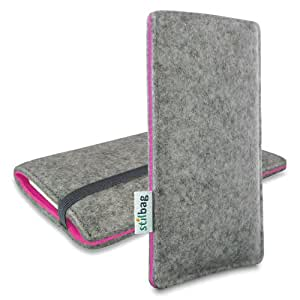 Stilbag Funda de fieltro 'FINN' para HTC One S - Color: gris/rosa