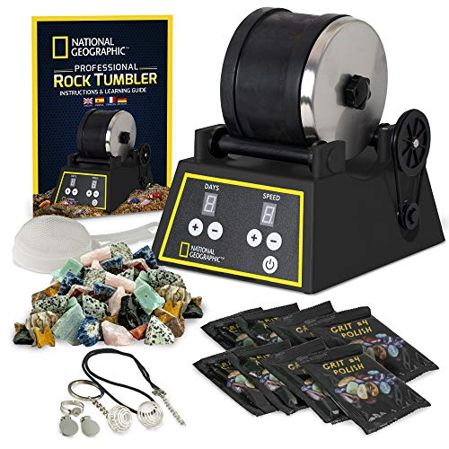 National Geographic Professional Rock Tumbler Kit- Features Include Shutoff Timer & Speed Control, 2 Pound Barrel, 2 Pounds of Gemstones, 8 Polishing Grits, Jewelry Fastenings & Learning Guide (Small Rock)