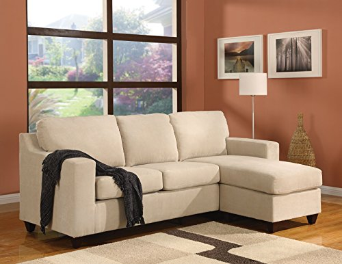 1PerfectChoice Vogue Beige Mirofiber Reversible Chaise Sectional Sofa