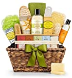 GiftTree Organic Spa Gift Basket - Premium Natural Spa Kit Includes All Organic Massage Oil, Mineral Salts, Body Butter & Scrub Accessories - for Men or Women